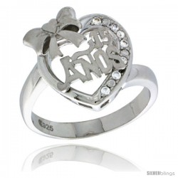 Sterling Silver Quinceanera 15 ANOS w/ Ribbon Heart Ring CZ stones Rhodium Finished, 5/8 in wide