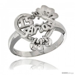 Sterling Silver Quinceanera 15 ANOS w/ Butterfly Triple Hearts Ring Rhodium Finished, 5/8 in wide