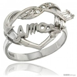 Sterling Silver AMOR w/ Cupid's Bow Ring CZ stones Rhodium Finished, 7/8 in wide