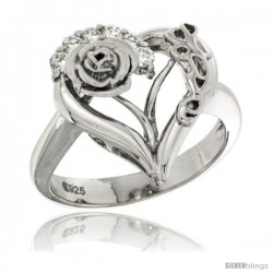 Sterling Silver LOVE Rose Heart Ring CZ stones Rhodium Finished, 11/16 in wide