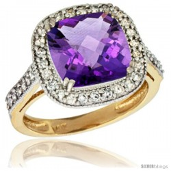 14k Yellow Gold Diamond Halo Amethyst Ring Checkerboard Cushion 9 mm 2.4 ct 1/2 in wide