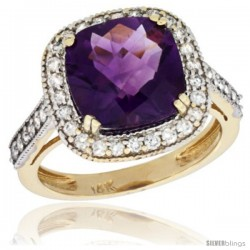 14k Yellow Gold Diamond Halo Amethyst Ring Cushion Shape 10 mm 4.5 ct 1/2 in wide