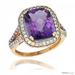 14k Yellow Gold Diamond Halo Amethyst Ring Checkerboard Cushion 12x10 4.8 ct 3/4 in wide