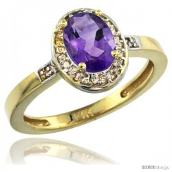 14k Yellow Gold Diamond Amethyst Ring 1 ct 7x5 Stone 1/2 in wide
