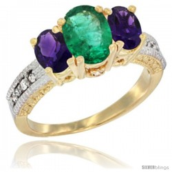 14k Yellow Gold Ladies Oval Natural Emerald 3-Stone Ring with Amethyst Sides Diamond Accent