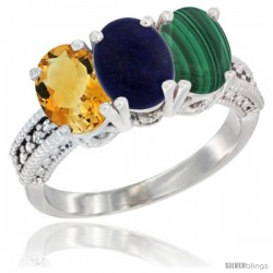 14K White Gold Natural Citrine, Lapis & Malachite Ring 3-Stone 7x5 mm Oval Diamond Accent