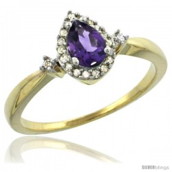 14k Yellow Gold Diamond Amethyst Ring 0.33 ct Tear Drop 6x4 Stone 3/8 in wide