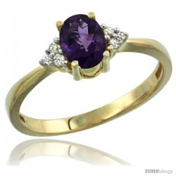 14k Yellow Gold Ladies Natural Amethyst Ring oval 7x5 Stone Diamond Accent