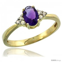 14k Yellow Gold Ladies Natural Amethyst Ring oval 6x4 Stone Diamond Accent