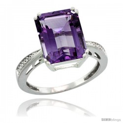 Sterling Silver Diamond Amethyst Ring 5.83 ct Emerald Shape 12x10 Stone 1/2 in wide -Style Cwg01149