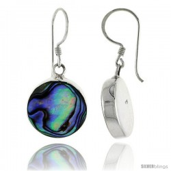 "Sterling Silver Round Abalone Shell Inlay Earrings, 5/8"" (15 mm) tall"