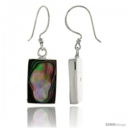 "Sterling Silver Rectangular Abalone Shell Inlay Earrings, 5/8"" (16 mm) tall"