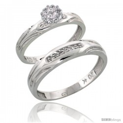 10k White Gold Diamond Engagement Rings 2-Piece Set for Men and Women 0.10 cttw Brilliant Cut, 3.5mm & 4.5mm wide