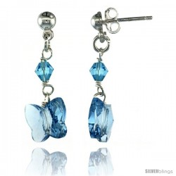 Sterling Silver Butterfly Blue Topaz Swarovski Crystals Dangle Earrings, 1 1/8 in. (29 mm) tall