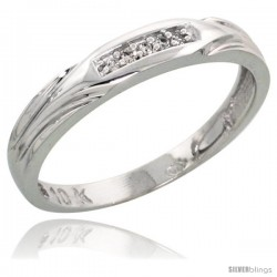 10k White Gold Ladies Diamond Wedding Band Ring 0.03 cttw Brilliant Cut, 1/8 in wide -Style 10w014lb