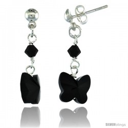 Sterling Silver Butterfly Black Swarovski Crystals Dangle Earrings, 1 1/8 in. (29 mm) tall