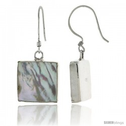 "Sterling Silver Square Mother of Pearl Inlay Earrings, 9/16"" (15 mm) tall"