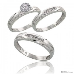 10k White Gold Diamond Trio Engagement Wedding Ring 3-piece Set for Him & Her 4.5 mm & 3.5 mm wide 0.13 cttw Brilliant Cut