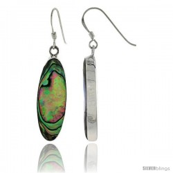 "Sterling Silver Oval Abalone Shell Inlay Earrings, 1 1/8"" (28 mm) tall"
