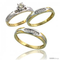 10k Yellow Gold Diamond Trio Wedding Ring Set His 4.5mm & Hers 3.5mm