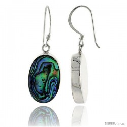 "Sterling Silver Oval Mother of Pearl Inlay Earrings, 7/8"" (22 mm) tall -Style Eshl37"