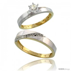 10k Yellow Gold 2-Piece Diamond wedding Engagement Ring Set for Him & Her, 3.5mm & 4.5mm wide -Style 10y115em