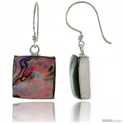 "Sterling Silver Square Abalone Shell Inlay Earrings, 9/16"" (15 mm) tall"