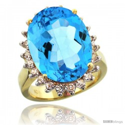 10k Yellow Gold Diamond Halo Swiss Blue Topaz Ring 10 ct Large Oval Stone 18x13 mm, 7/8 in wide