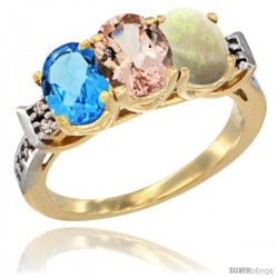 10K Yellow Gold Natural Swiss Blue Topaz, Morganite & Opal Ring 3-Stone Oval 7x5 mm Diamond Accent