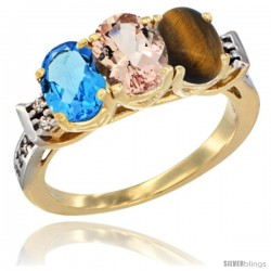 10K Yellow Gold Natural Swiss Blue Topaz, Morganite & Tiger Eye Ring 3-Stone Oval 7x5 mm Diamond Accent