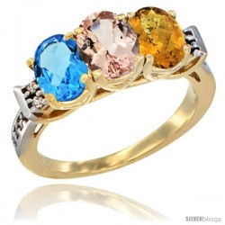 10K Yellow Gold Natural Swiss Blue Topaz, Morganite & Whisky Quartz Ring 3-Stone Oval 7x5 mm Diamond Accent