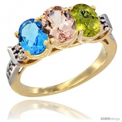 10K Yellow Gold Natural Swiss Blue Topaz, Morganite & Lemon Quartz Ring 3-Stone Oval 7x5 mm Diamond Accent