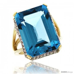 10k Yellow Gold Diamond Swiss Blue Topaz Ring 14.96 ct Emerald shape 18x13 mm Stone, 13/16 in wide