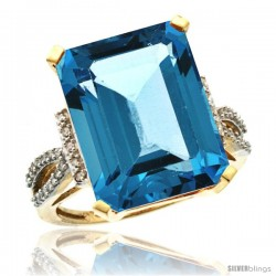 10k Yellow Gold Diamond Swiss Blue Topaz Ring 12 ct Emerald Shape 16x12 Stone 3/4 in wide