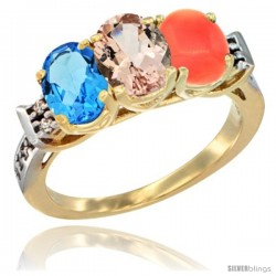 10K Yellow Gold Natural Swiss Blue Topaz, Morganite & Coral Ring 3-Stone Oval 7x5 mm Diamond Accent
