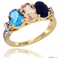 10K Yellow Gold Natural Swiss Blue Topaz, Morganite & Lapis Ring 3-Stone Oval 7x5 mm Diamond Accent