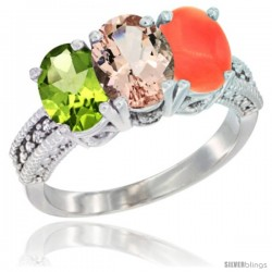 14K White Gold Natural Peridot, Morganite & Coral Ring 3-Stone Oval 7x5 mm Diamond Accent
