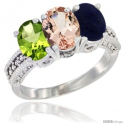 14K White Gold Natural Peridot, Morganite & Lapis Ring 3-Stone Oval 7x5 mm Diamond Accent