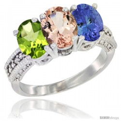 14K White Gold Natural Peridot, Morganite & Tanzanite Ring 3-Stone Oval 7x5 mm Diamond Accent
