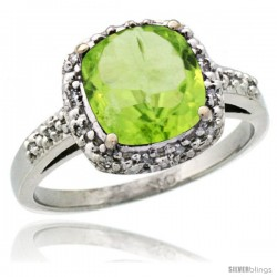 14k White Gold Diamond Peridot Ring 2.08 ct Cushion cut 8 mm Stone 1/2 in wide