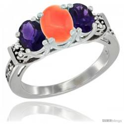 14K White Gold Natural Coral & Amethyst Ring 3-Stone Oval with Diamond Accent
