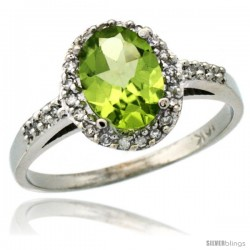14k White Gold Diamond Peridot Ring Oval Stone 8x6 mm 1.17 ct 3/8 in wide
