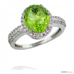 14k White Gold Diamond Peridot Ring Oval Stone 10x8 mm 2.4 ct 1/2 in wide
