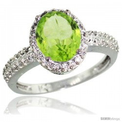 14k White Gold Diamond Peridot Ring Oval Stone 9x7 mm 1.76 ct 1/2 in wide
