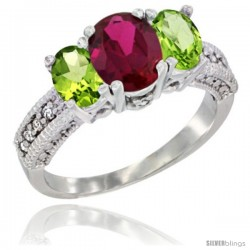 14k White Gold Ladies Oval Natural Ruby 3-Stone Ring with Peridot Sides Diamond Accent