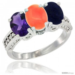 14K White Gold Natural Amethyst, Coral & Lapis Ring 3-Stone 7x5 mm Oval Diamond Accent