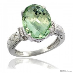 14k White Gold Diamond Green-Amethyst Ring 5.5 ct Oval 14x10 Stone