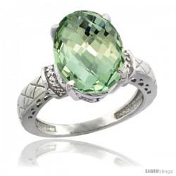 14k White Gold Diamond Green-Amethyst Ring 5.5 ct Oval 14x10 Stone