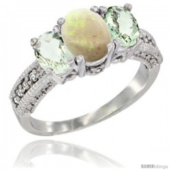 14k White Gold Ladies Oval Natural Opal 3-Stone Ring with Green Amethyst Sides Diamond Accent