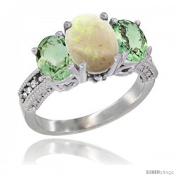 14K White Gold Ladies 3-Stone Oval Natural Opal Ring with Green Amethyst Sides Diamond Accent